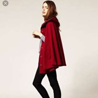 AMERICAN APPAREL: Burgundy Hooded Cape With Arm Slits (One Size)