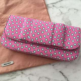 Miu Miu Polka Dot Canvas Clutch