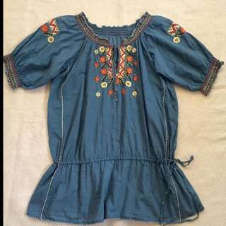 Embroidered Boho Long Top