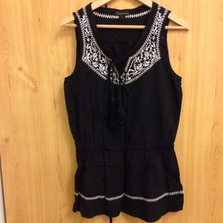 F21 Black Embroidery Blouse