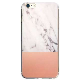 Soft Silicone Marble/Orange iPhone 7 Case