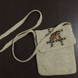 Beige knit sling bag