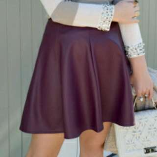 Leather Skirt - Wine Colour