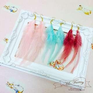 日本原宿系Zipper個性復古少女可愛粉色系羽毛耳環-三色