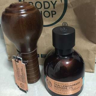 Body Shop Massage Oil With Massager Wood Spa