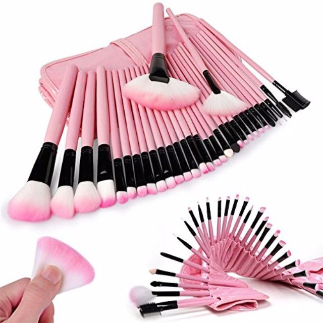 32pcs PINK make up brushes set + Pink pouch bag