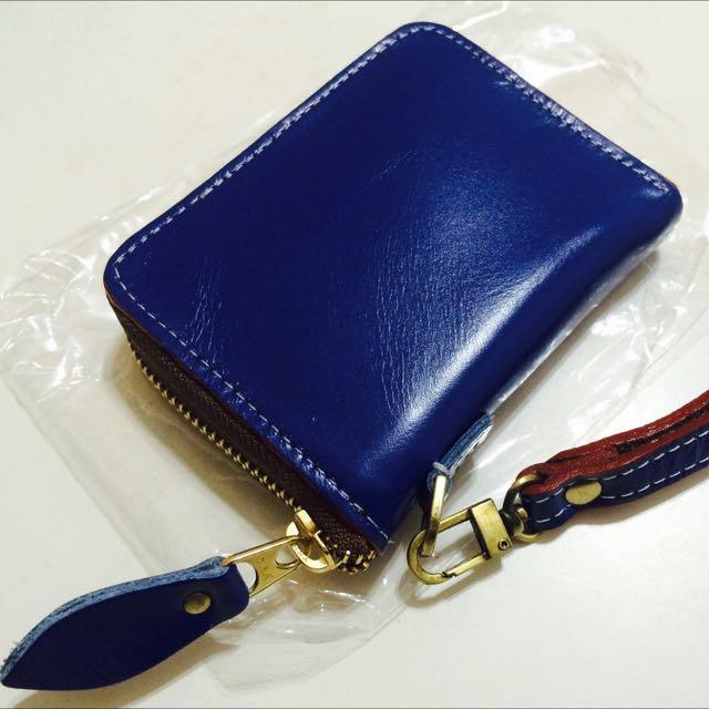 泰國小牛皮深藍色短夾