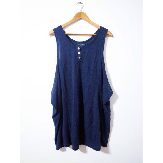 二手轉賣 簡約深藍木釦針織連身背心長洋裝裙