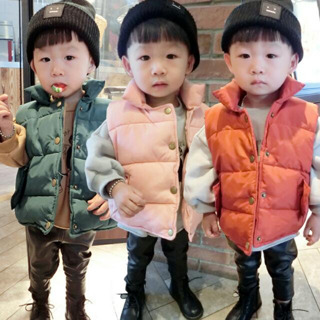 預購🎉男童 女童 羽絨加棉背心外套。4色(黑,橘,墨綠,粉)