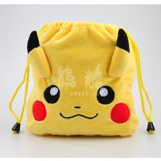 ๑熊糖๑ 神奇寶貝 可愛毛絨束口袋 口袋妖怪 pokemon go 毛絨 束口袋