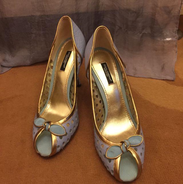 全新正品 Dolce & Gabbana水藍蝴蝶結甜美高跟鞋