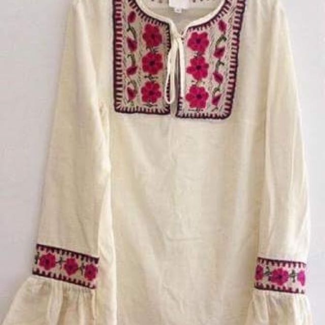 Ana Sui Embroidered Boho Longsleeves Top