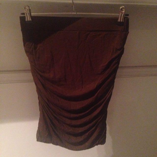 Bardot Khaki Runched Skirt