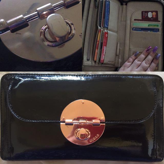 Black Mimco Travel Turnlock Wallet