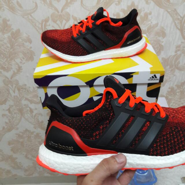 BRAND NEW Adidas Ultraboost Black Red Us 9 Olshop Fashion Pria Di Carousell