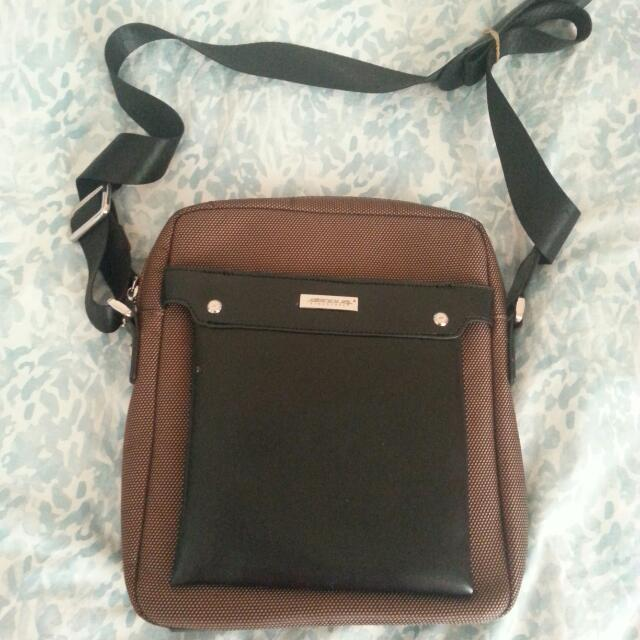 Brown Faux Leather Satchel Handbag
