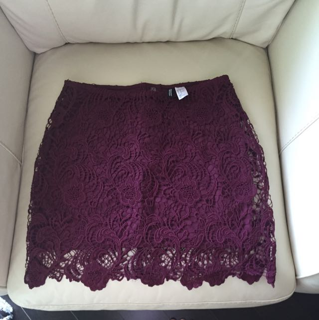 Burgundy Lace H&M Skirt Never Worn