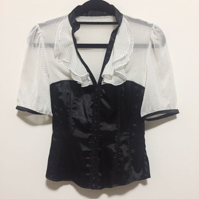 Corset  Lace Top Black White