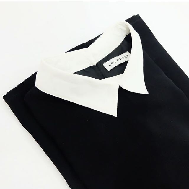 COTTONINK BLACK DRESS WHITE COLLAR