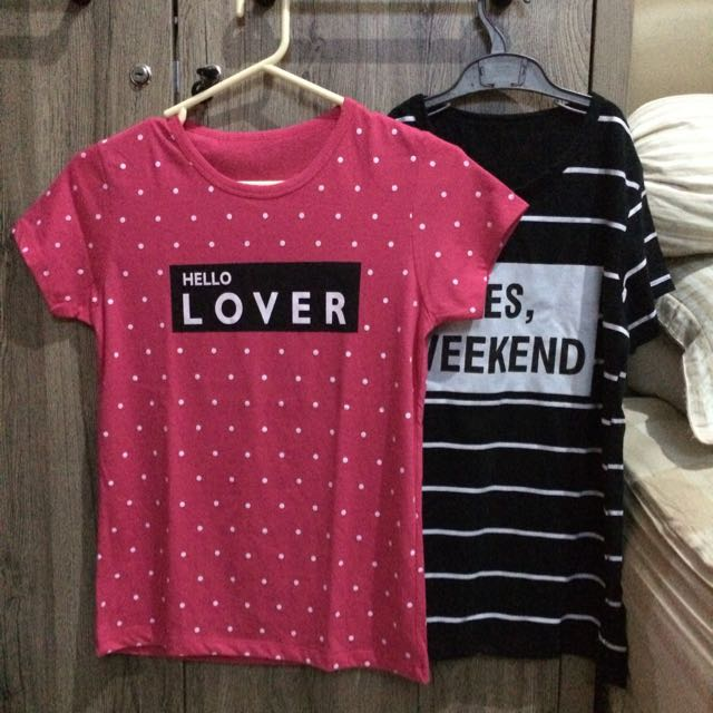 Cute Hello Lover & Yes Weekend Shirt (2Pcs)