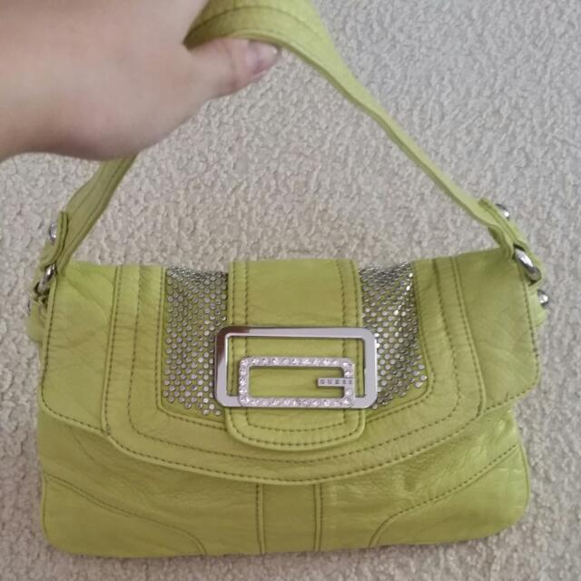 Guess Yellow Green Crystal And Studs Small Handbag