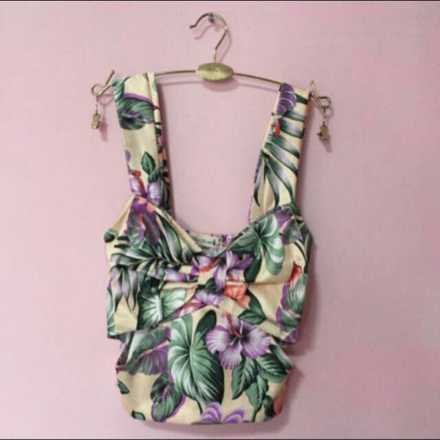 1ab4131354f Hawaiian Bustier Crop Top With Thick Shoulder Straps, Women's ...