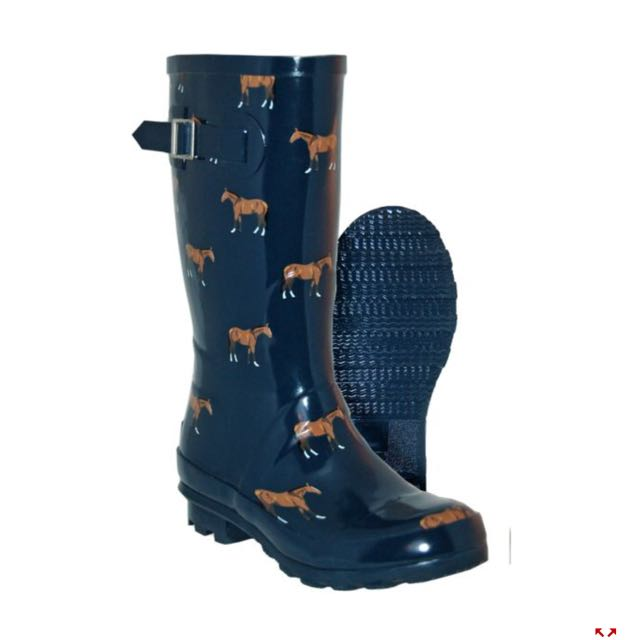 Horse Printed Rain Boots, Size 10