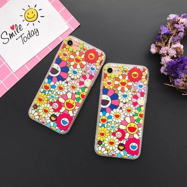 日本簡約村上隆太陽花蘋果iPhone7/6S手機殼6plus全包磨砂套