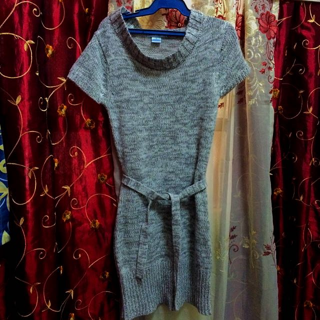 Knitted Short Sleeve Sweater Dress