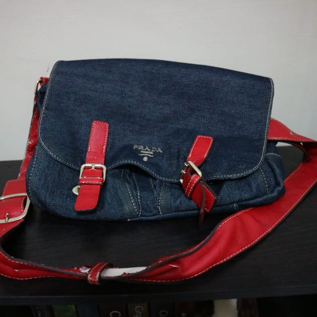 Prada Jeans Denim Red Bag