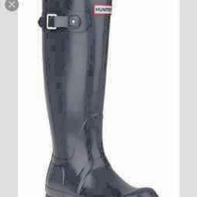 Size 8 Tall BLACK GLOSS HUNTER BOOTS WITH WINTER FLEECE INSOLES