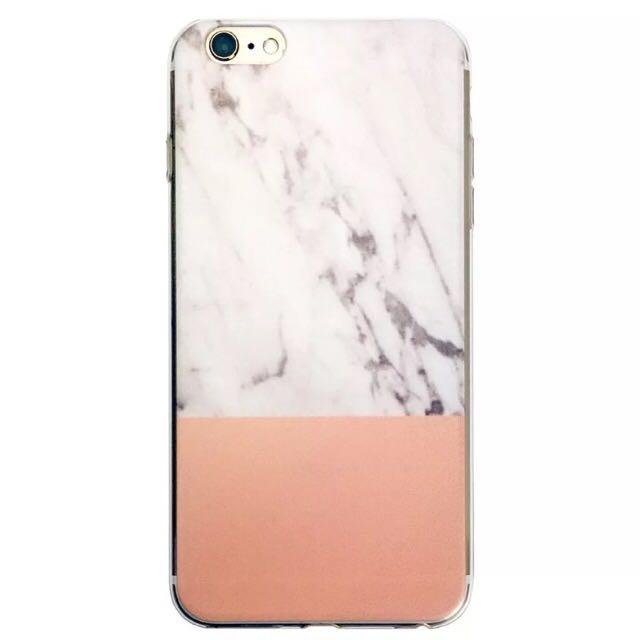 Soft Silicone Marble/Orange iPhone 7 Case