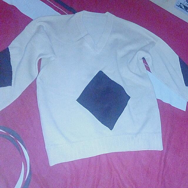 Sweater Rajut Scream,motif Diagonal Coklat