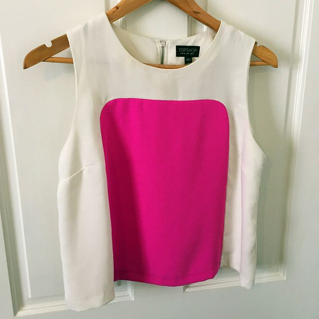Topshop Crop Colour Block Top