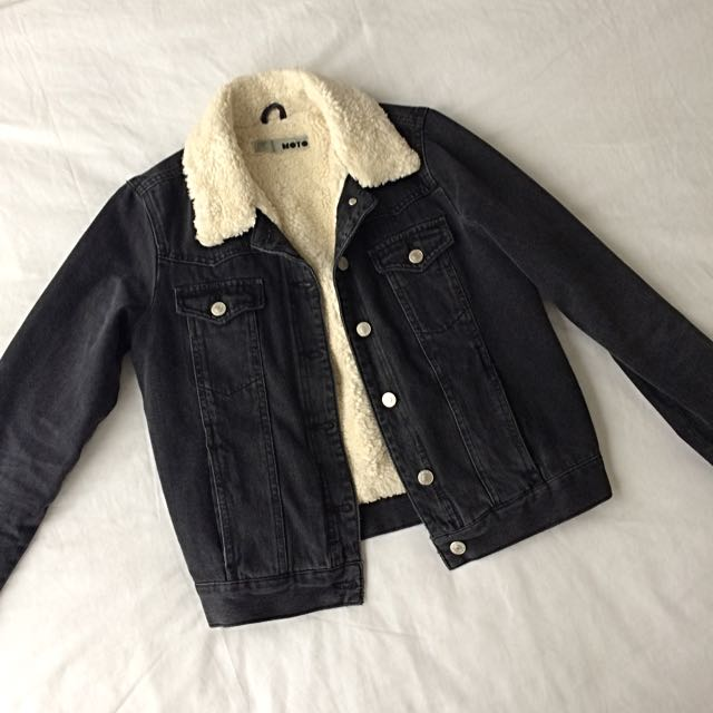 Topshop MOTO Washed Black Borg Western Jacket