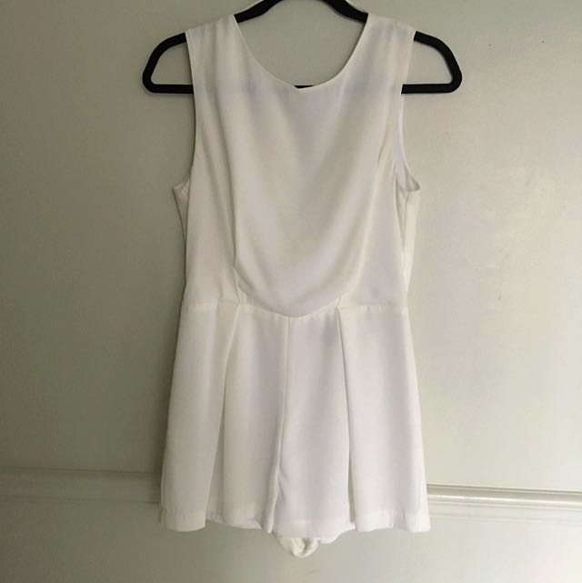 Topshop White Romper With Lace Back Detail