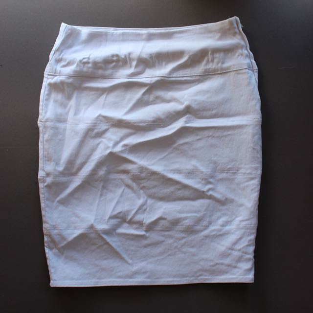 White Mini High Waisted Skirt