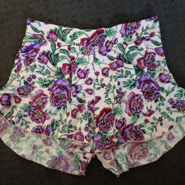 Women's Floral Ruffle High Shorts