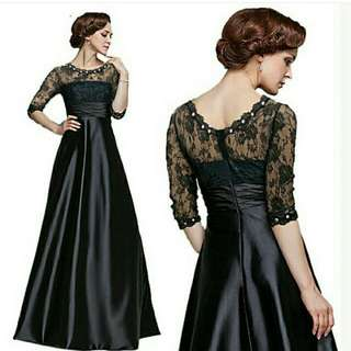 Black Dinner Satin & Laced Dress