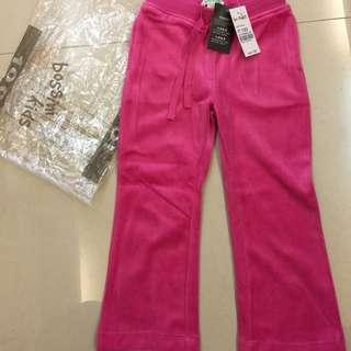 (已減價)Bossini 全新桃紅色絲絨運動褲