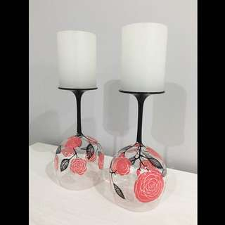 Hand Painted Candle Holders With Swarovski Crystal Elements