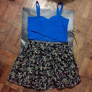Crop Tank Top + Flowy Floral Short skirt Set