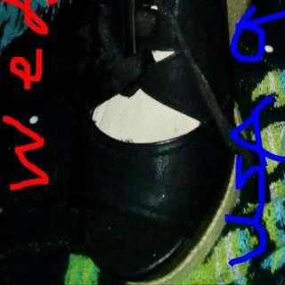 Black Lace Up Wedges Size 9