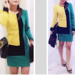 Color block dress - Green