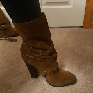 BCBGeneration Brown Suede Strappy Boots