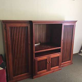 Large Wooden Tv Cabinet With Hidden Storage FREE!