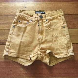 Size 6 Ziggy Denim Short Shorts High Waisted Faded Mustard