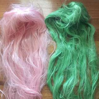 Pink And Green Wig