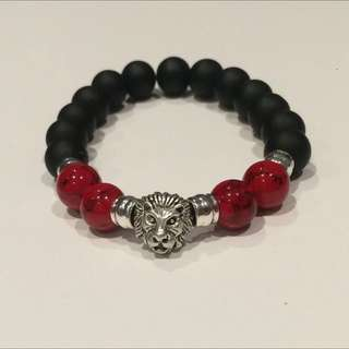 Black Matte Onyx / Red Howlite Bracelet