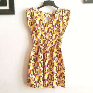 Short Dress Yellow Abstract